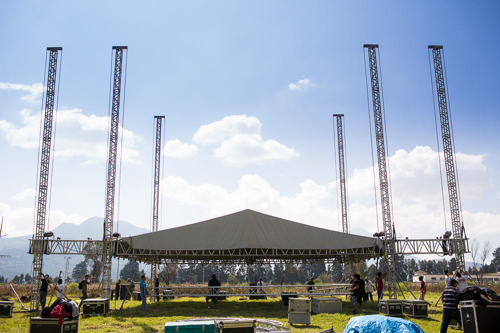 The stage being set up on Friday at the festival grounds.